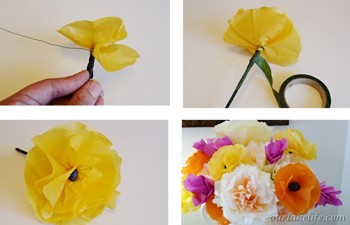 Tissue paper flower wrapped in yellow wiring diagrams our lake life diy handmade paper flower bouquet our lake life rh ourlakelife com tissue paper mightylinksfo